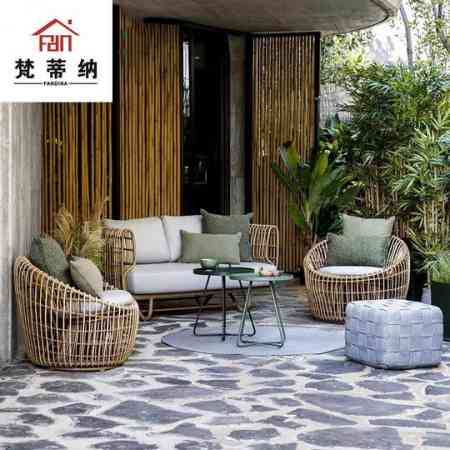 Leisure outdoor furniture homestay hotel inn courtyard balcony Indonesia real rattan sofa villa indoor rattan table and chair