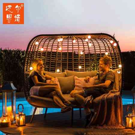 Outdoor sofa rattan furniture living room balcony bamboo rattan chair outdoor courtyard small rattan art double lazy leisure terrace