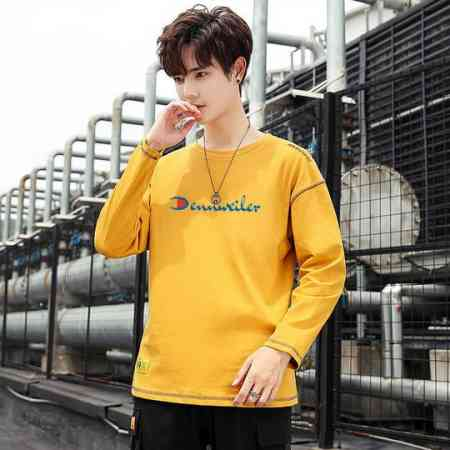 Champion rhino men's long-sleeved t-shirt men's spring and autumn loose long-sleeved cotton round neck simple tops for men