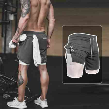 Sports shorts male quick-drying running fitness fake two double stretch tight five pants football basketball training pants