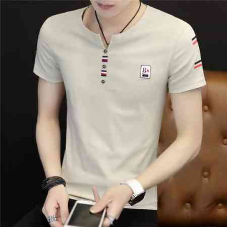 Summer Men's Short Sleeve T-Shirt Blood V-neck Half Sleeve Korean Trend Half Sleeve Slim Body Tide Tide Brand Summer Dress