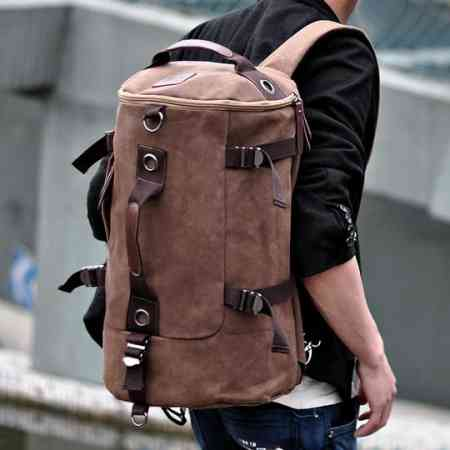 Large-capacity tube bag men's shoulder bag tide men canvas bag outdoor travel backpack cylinder bag multi-function backpack