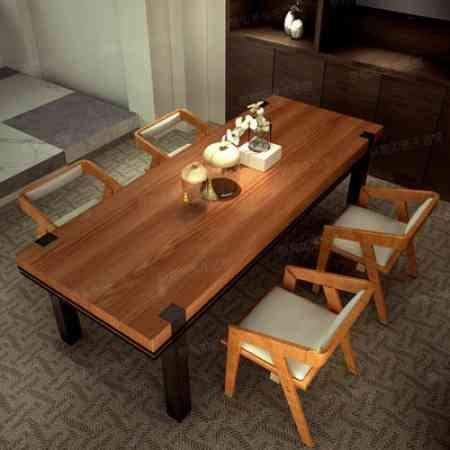 American Iron wood conference tables minimalist modern rectangular desk industrial loft style dinette