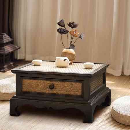 Southeast Asia solid wood bamboo and rattan storage tatami coffee table Bay window table creative simple window sill low table 炕 table