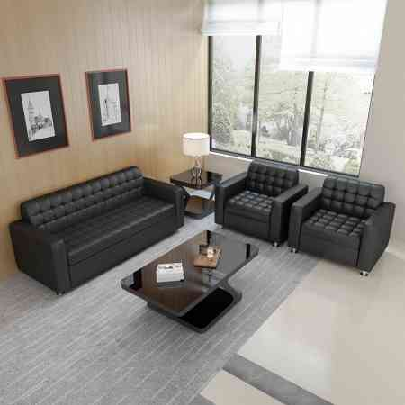 Office sofa Modern minimalist visitor reception sofa Leather three-person office sofa coffee table combination
