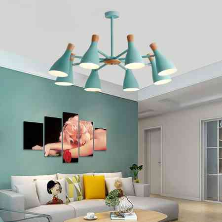 Nordic style living room chandelier modern minimalist home macaron creative personality small apartment bedroom dining room lamps