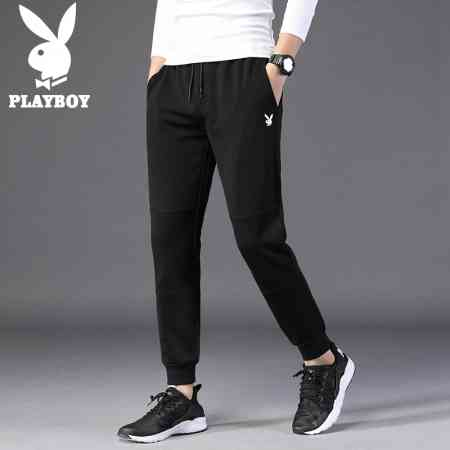 Playboy casual pants men's winter men's sports pants Korean version of the trend of self-cultivation beam pants and velvet pants men