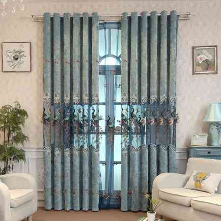 Customized curtains high-grade chenille Chinese-style shading living room bedroom finished jacquard embroidery fabric finished floor screen