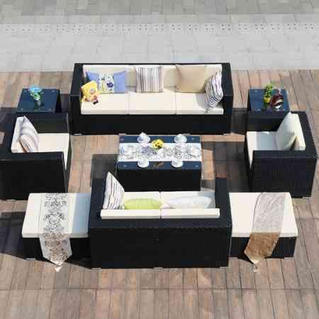 Outdoor furniture rattan sofa outdoor garden balcony rattan sofa garden leisure PE rattan sofa living room combination