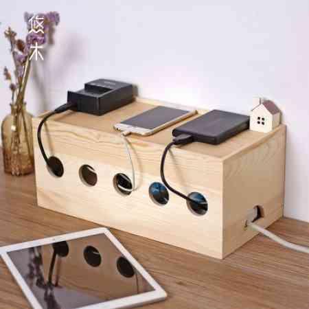 Wood junction box wire power cord storage box finishing box Strip junction box Plug socket carton