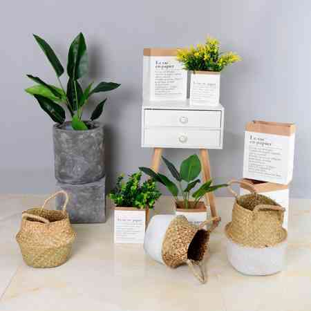 Nordic plant flower pot decoration hand-woven flower basket cement pot green plant kraft paper bag metal flower pot ins wind