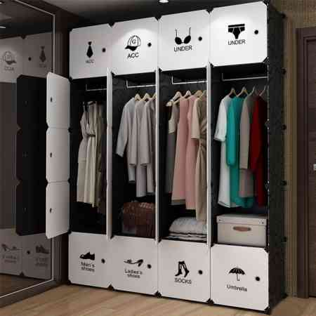 Simple wardrobe simple modern economical assembled plastic hanging closet bedroom storage cabinet small apartment space saving