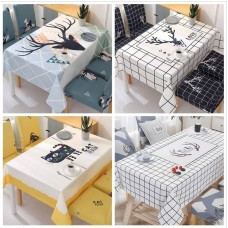 Home dining table chair coverings shroud ins Nordic network red waterproof cloth table cloth cotton cartoon suit