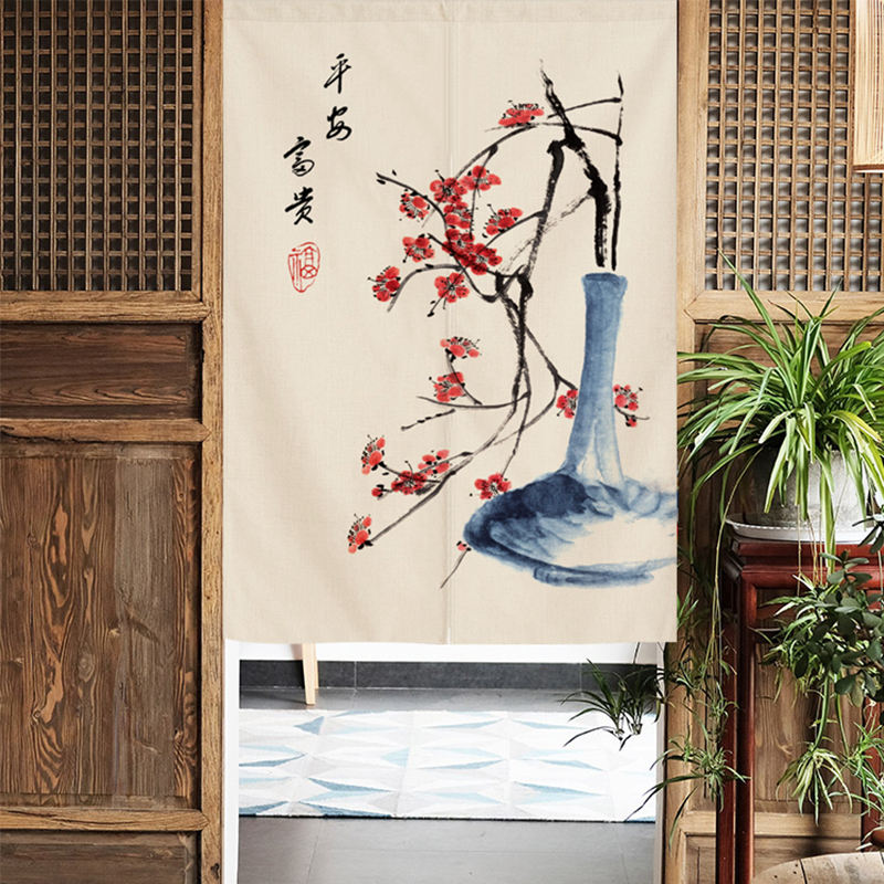 Chinese style door curtain partition curtain kitchen half curtain cloth art drape screen room corridor store thing frame block indoor hang curtain