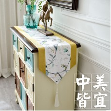 American tea table flag Chinese style zen table table long tablecloth cotton linen Chinese style shoes cabinet TV cabinet cover