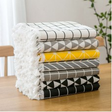 Nordic Japanese ins table cloth cotton linen Plaid tea table cloth round table cloth art students small fresh rectangle