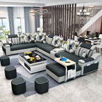 Simple and modern fabric sofa, large and small living room, self-contained furniture, removable and washable U-shaped sofa set